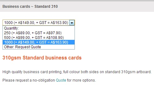 Screen shot of expensive business card pricing from a competitor